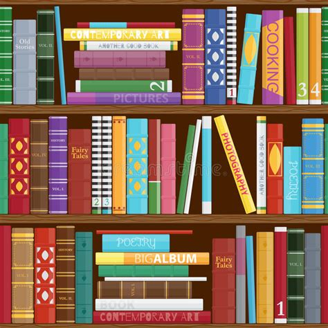pattern library background seamless book shelves background stock vector