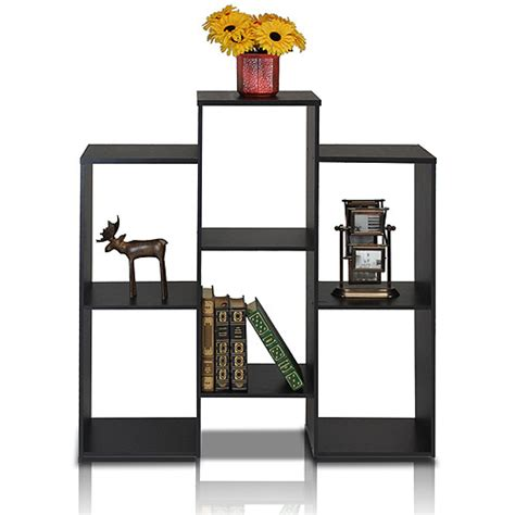 furinno 12221bk parsons staggered cube bookcase with 6
