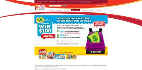 Win 100 Dollars Instantly - kellogg s snacks back to school instant win game enter your code at kelloggswin100