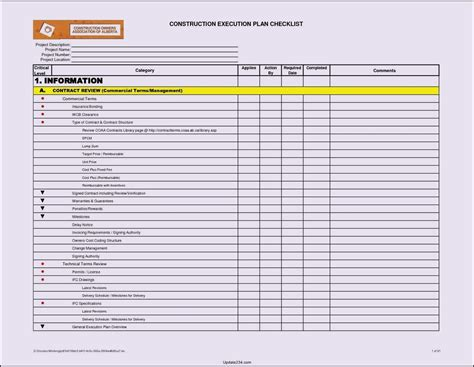 project spreadsheet template excel project checklist template excel template update234