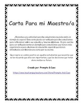carta de agradecimiento a una maestra behavior management carta para mi maestro a spanish by