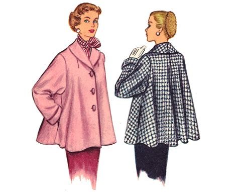 Vintage Swing Coat Sewing Pattern Shawl Collar By