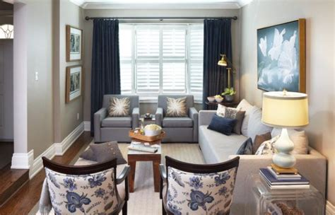 blue and gray living room combination toile fabric add cool color and chic pattern to