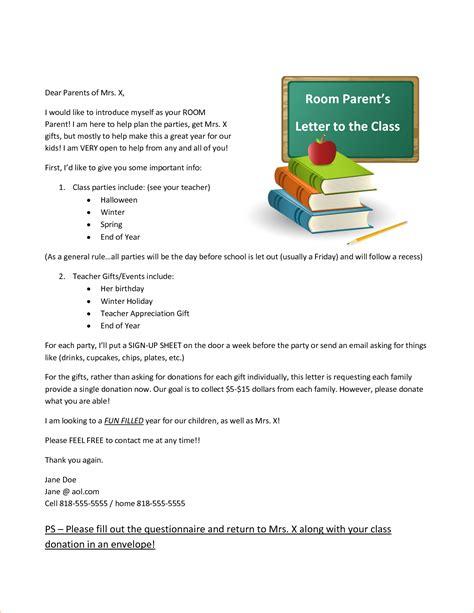 Introduction Letter For Volunteering room parent letter westlake elementary school by