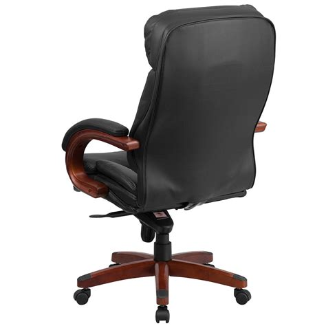 wood and leather swivel desk chair ergonomic home high back black leather executive swivel