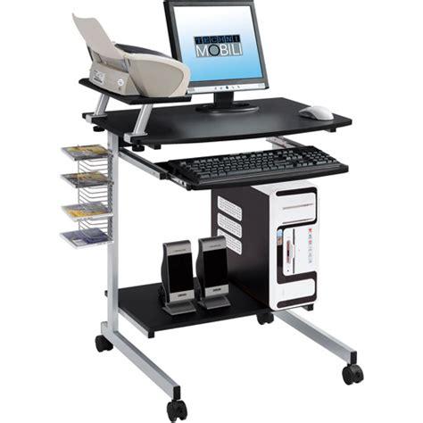 Wheeled Computer Desk Techni Mobili Rolling Computer Desk Graphite Ebay