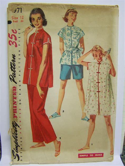 kimono pajama pattern vintage 1950s simplicity 4971 misses mandarin style