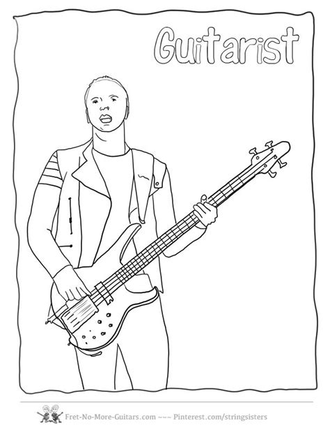 guitar player coloring page 9 best images about guitar coloring pages on pinterest