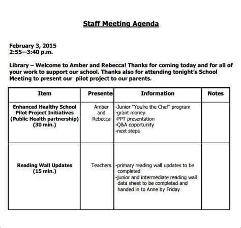 meeting agenda staff meeting staff meeting minutes template