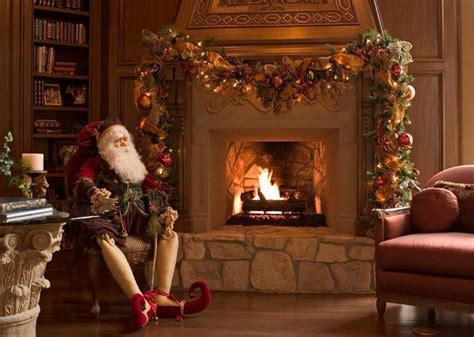 Indoor Stone Fireplace christmas interior traditional living room houston