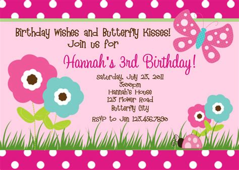 Little Girl Printable Birthday Invitations | printable birthday invitations butterfly party little girl
