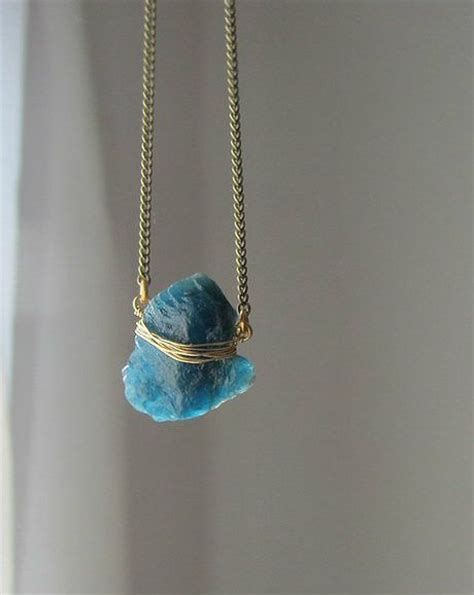 blue kyanite necklace rock pendant with