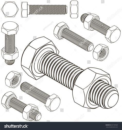 bolt pattern en francais screw bolt nut stock vector 381787069 shutterstock