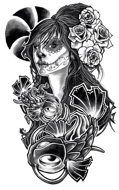 tattoo sleeve designs black and white drawings amazing