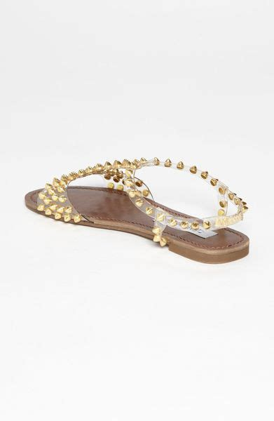 gold sandals steve madden steve madden nickiee sandal in gold lyst