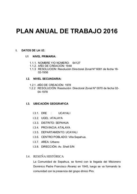 modelo plan de trabajo scribd newhairstylesformen2014 com plan anual de trabajo de ie 2016 newhairstylesformen2014 com
