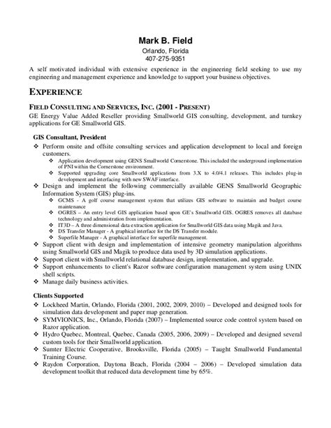 Resume Sles Gis Field Resume