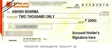 cheque bank account how to write a cheque in bank of baroda self account