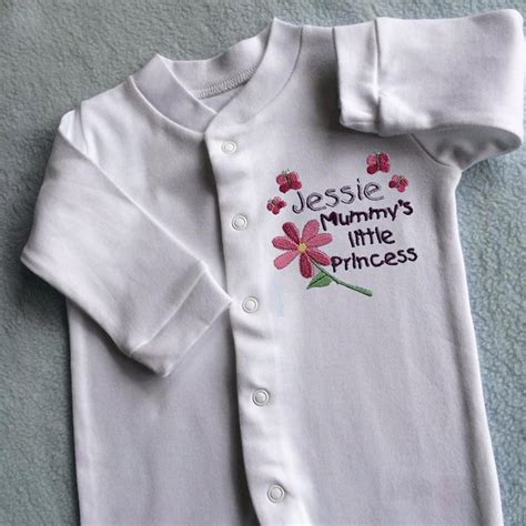personalised baby girl clothes sleepsuit embroidered