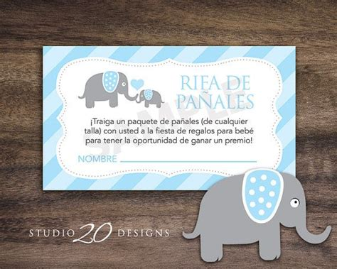 free printable diaper raffle tickets in spanish instant download blue elephant spanish baby shower diaper