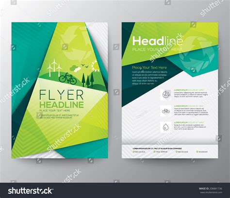 template design abstract triangle brochure flyer design vector stock