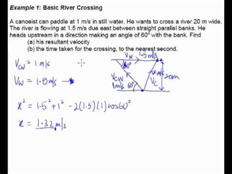 boat trip calculator relative velocity exle 1 river crossing youtube
