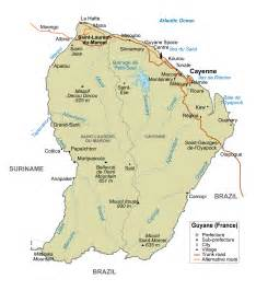 large detailed political and road map of guiana