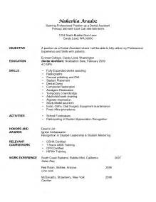 dental assistant resume sles berathen