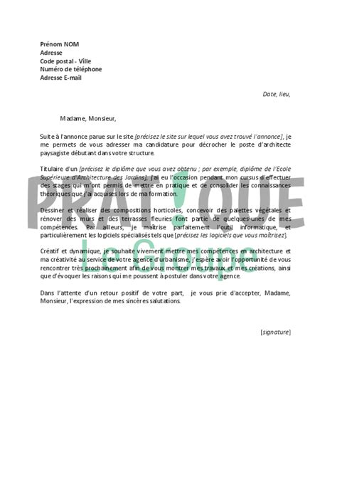 Lettre De Motivation Stage Architecture Lettre De Motivation Pour Un Emploi D Architecte Paysagiste D 233 Butant Pratique Fr