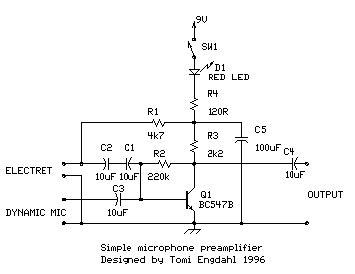 transistor microphone lifier circuit simple microphone prelifier