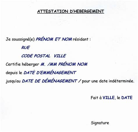 Attestation D Hébergement Model