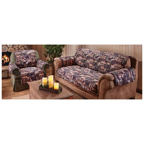 chair and ottoman slipcover sets lodge sofa and chair slipcover set 614468 furniture