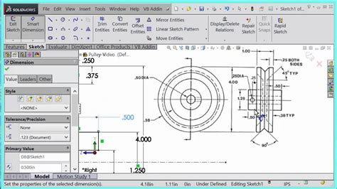 solidworks tutorial revolved boss engr 6 solidworks revolved boss exercise pulley youtube