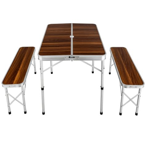 table with two benches tectake folding portable table and 2 benches cing set