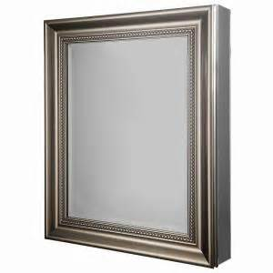 medicine cabinet brushed nickel glacier bay 24 in w x 29 1 8 in h framed recessed or