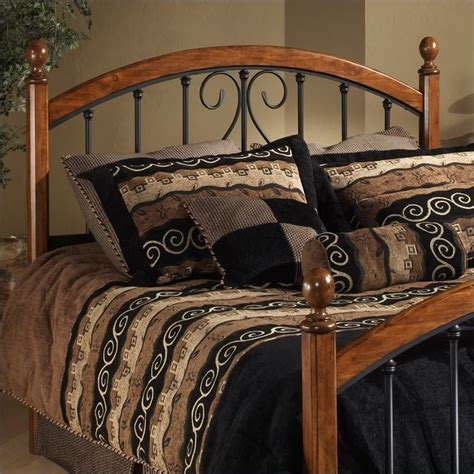 black metal headboards queen hillsdale burton way spindle headboard in cherry and black
