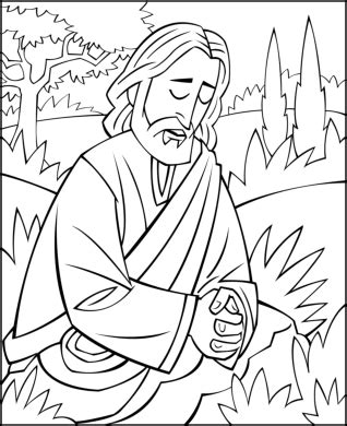 sunday coloring jesus praying garden