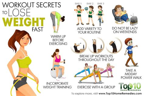 Exercises For Home To Lose Weight by 10 Workout Secrets To Lose Weight Fast Top 10 Home Remedies
