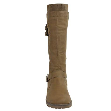 womens flat grip sole wide leg calf knee high