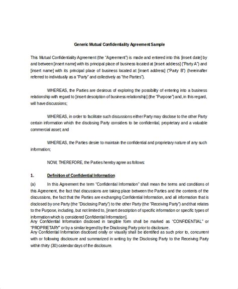 10 mutual confidentiality agreement templates free