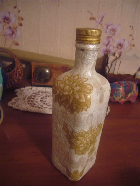 decoupage glaze another glass bottle decoupage project diy crafts