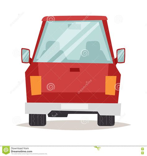cartoon car back generic red car luxury design flat vector illustration