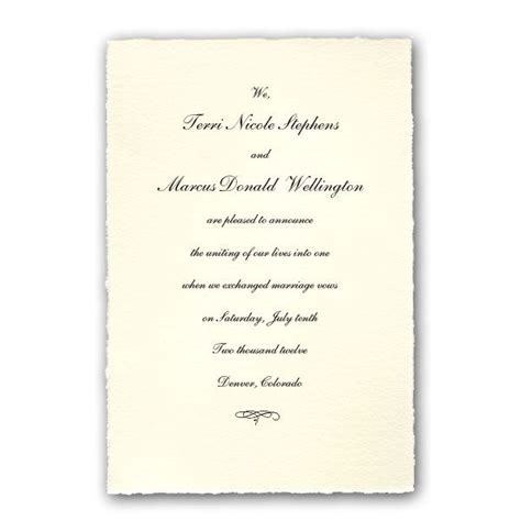 Wedding Announcement by Colonial White Medium Deckled Wedding Announcements