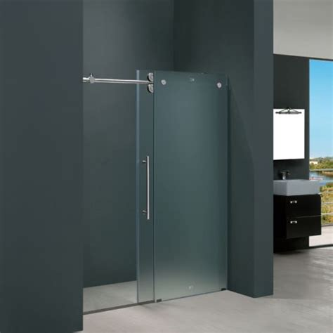 Frosted Glass Doors Prices Frameless Glass Vigo Vg6041chmt4874l 48 Quot Frameless Shower Door 3 8 Quot Frosted Glass With Chrome