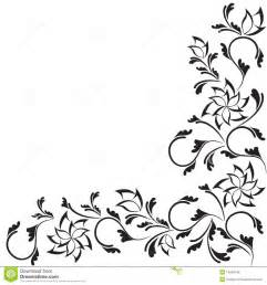 black ornate floral design isolated on white royalty free