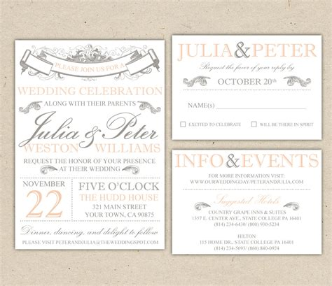 vintage modern wedding invitation prints custom by