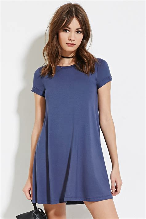lyst forever 21 a line t shirt dress in blue