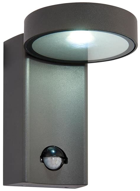 Modern Outdoor Led Wall Lights Oreti Modern Anthracite 10w Led Outdoor Pir Wall Light Ip44 Universal Lighting