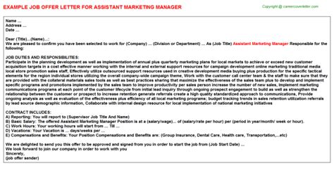 appointment letter format marketing manager assistant marketing manager offer letter