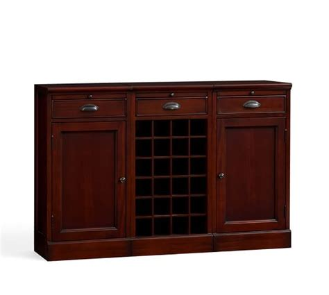 Buffet Bar Cabinet Modular Bar Buffet With 2 Cabinet Bases 1 Wine Grid Base Pottery Barn